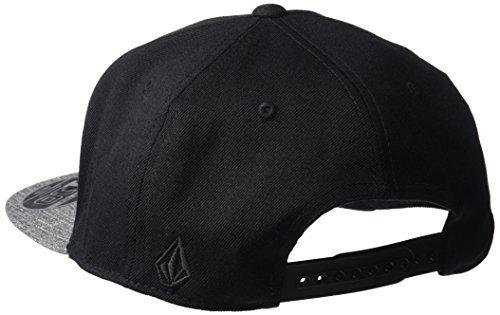volcom hombres fielder seis panel 110 snap back hat, negro,