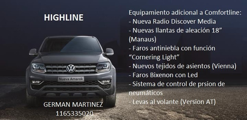 volkswagen amarok highline manual 4x2 tdi 180cv 2017 0km