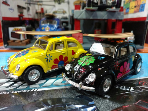 volkswagen beetle escarabajo hippie con tabla de surf 1/32