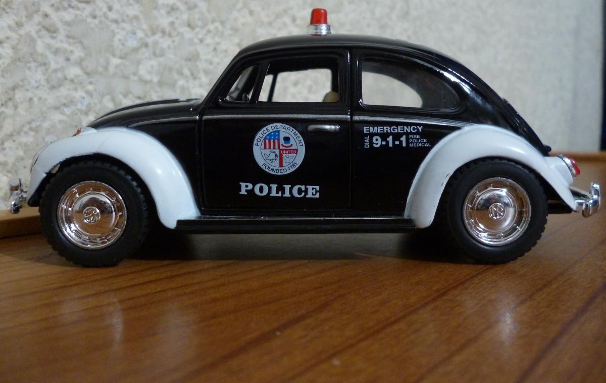 volkswagen beetle sedan vocho patrulla escala  kinsmart  en mercado libre
