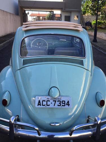 volkswagen fusca 1961 azul pastel com teto solar impecável