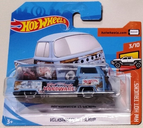 volkswagen t2 pickup kombi azul hot wheels 2018 108/365