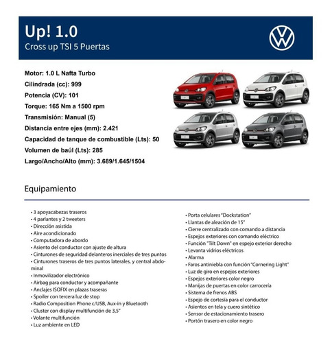 volkswagen up! 1.0 tsi cross up! 5 puertas turbo 2020 0km 11