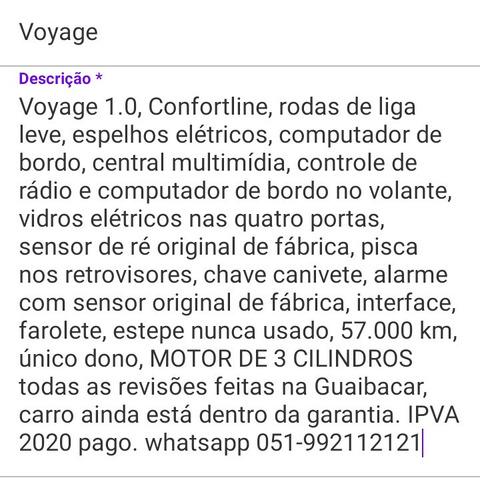 volkswagen voyage 2017 1.0 12v comfortline total flex 4p
