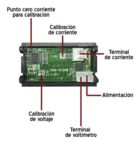 voltimetro amperimetro 99.9v 10a display rojo azul dsn-vc288