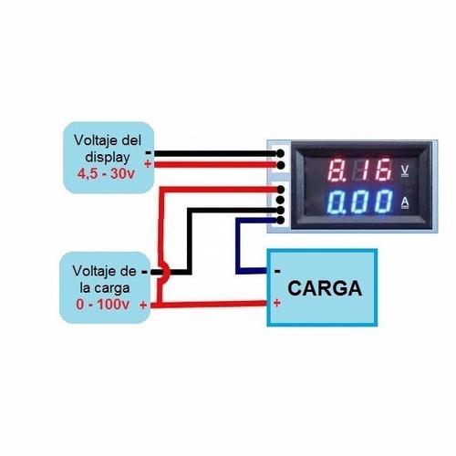 voltimetro + amperimetro digital 100v/10a dc carro moto pane