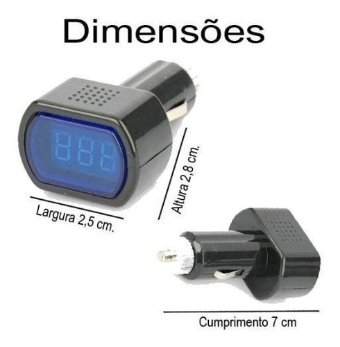 voltímetro digital de cinzeiro 12v 24v medidor bateria led