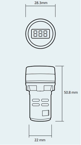 voltimetro digital ojo de buey embutir panel tablero