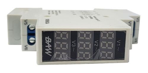 voltimetro digital trifasico rojo 3 lecturas 1 modulo din