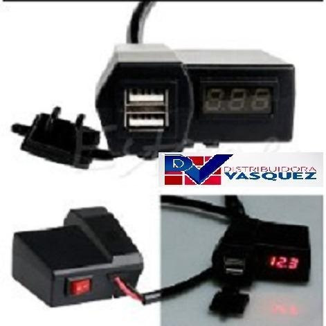 voltimetro led para motos cargador doble 2 puertos usb full