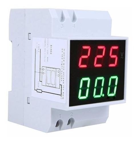 voltimetro y amperimetro digital 80-300v 0.1a-99.9a riel din