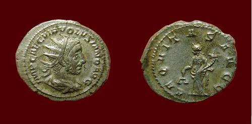 volusiano, antoniniano de prata do imperio romano