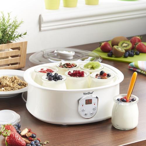vonshef automático digital yogurtera con pantalla lcd y 7 x