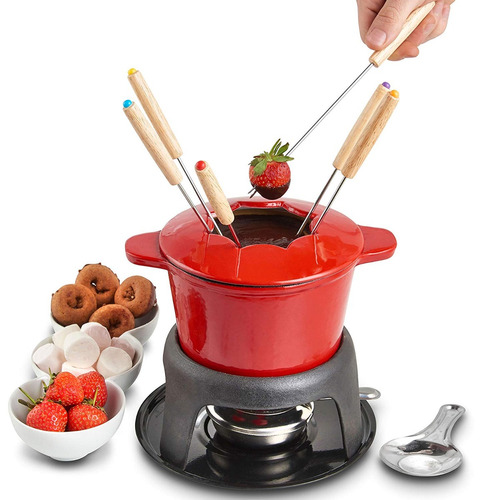 vonshef fondue set con 6 forks elegante de hierro fundido po