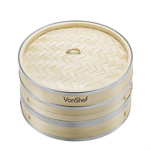 vonshef premium 2 tier vapor de bambú con bandas de acero i