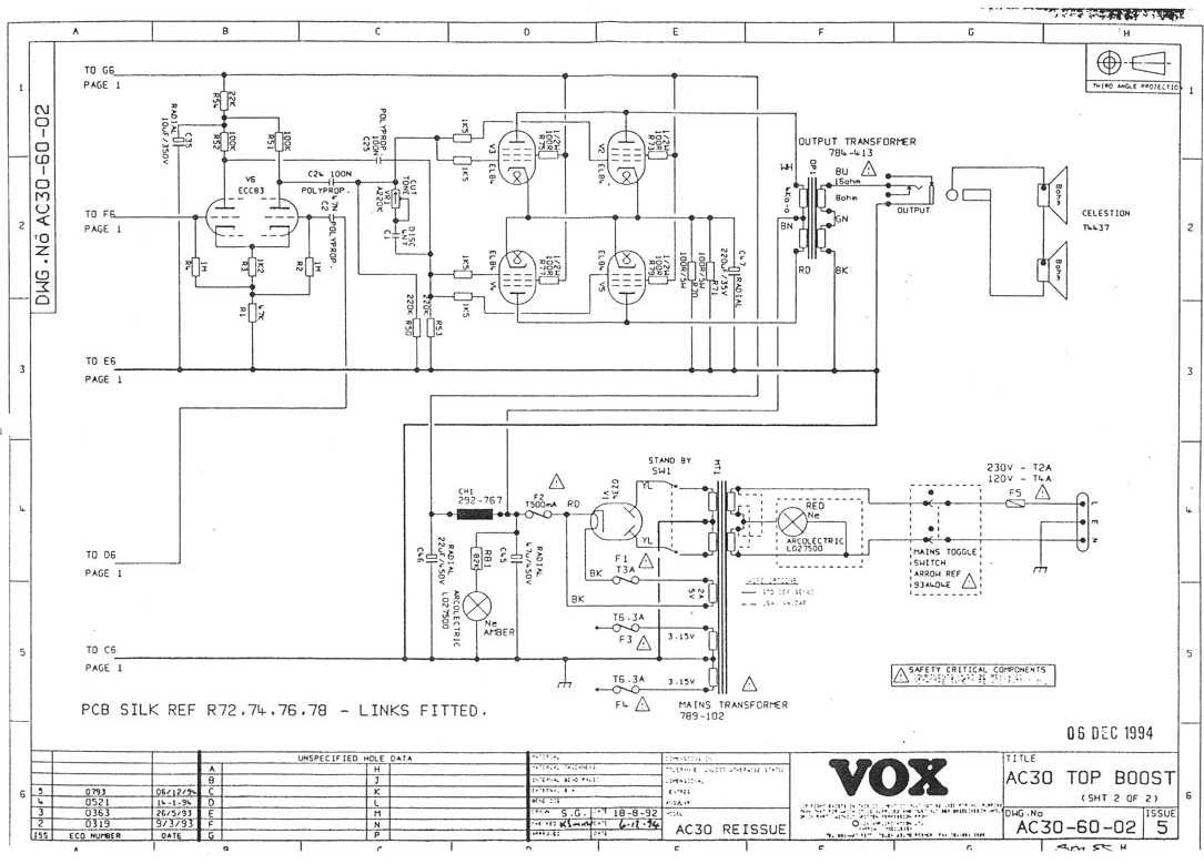 Vox ® Ac30 Top Boost ( Força ) Ac Schematic on