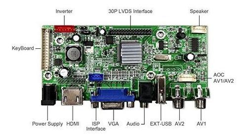 vsdisplay hdmi vga 2 av usb placa de controlador lcd trabajo
