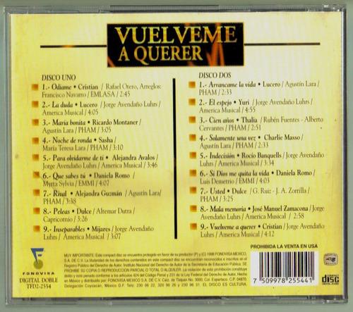 vuelveme a querer cd doble de coleccion unica ed 1998  bvf
