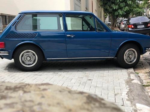 vw brasilia 1976 - placa preta - azul