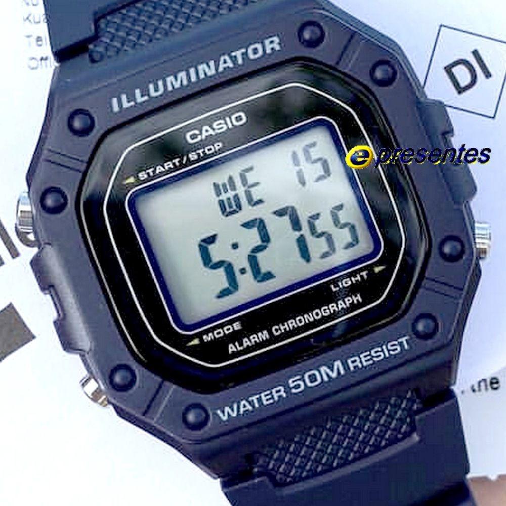 1eb5c3f219a w-218h-2av relógio casio digital azul 43mm largura wr50 luz. Carregando zoom .