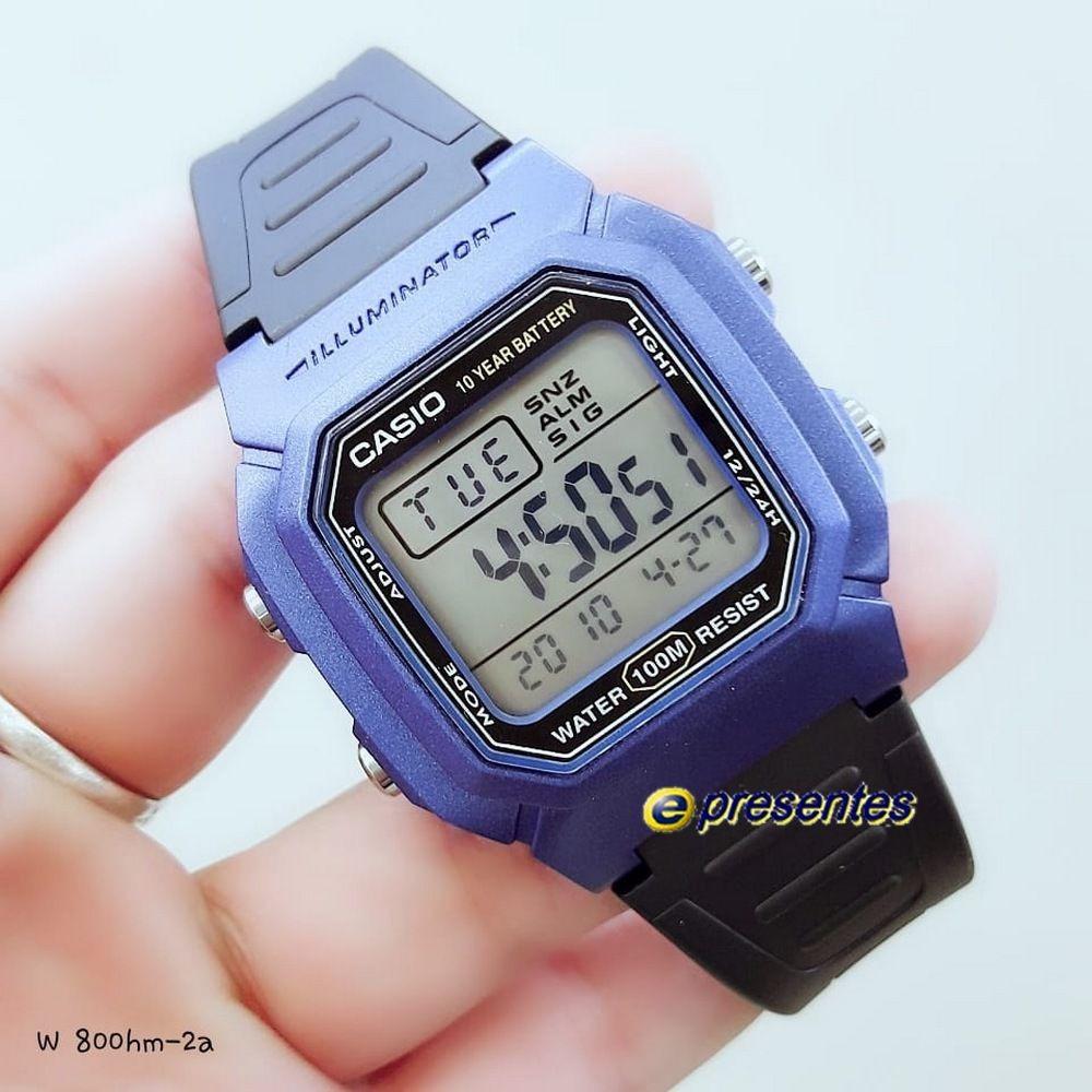 5bc6b3dbbaf w-800hm-9a relógio casio digital wr100m iluminação original. Carregando  zoom.