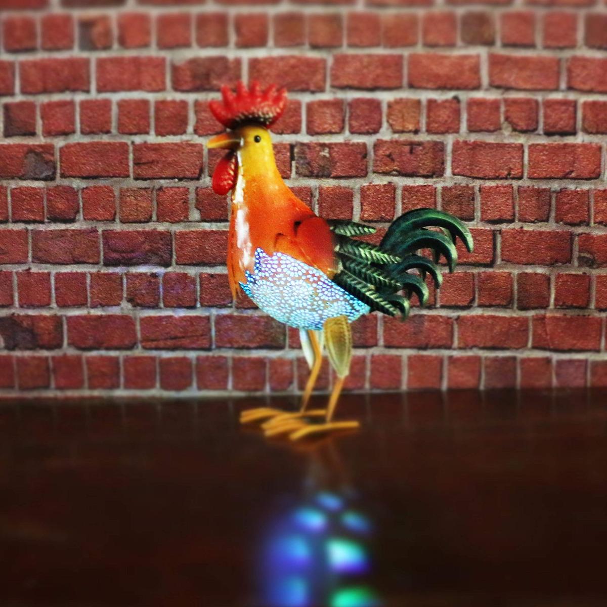 W Dian Solar Animal Lights Metal Rooster Decor Outdoor Gard 187 900 En Mercado Libre