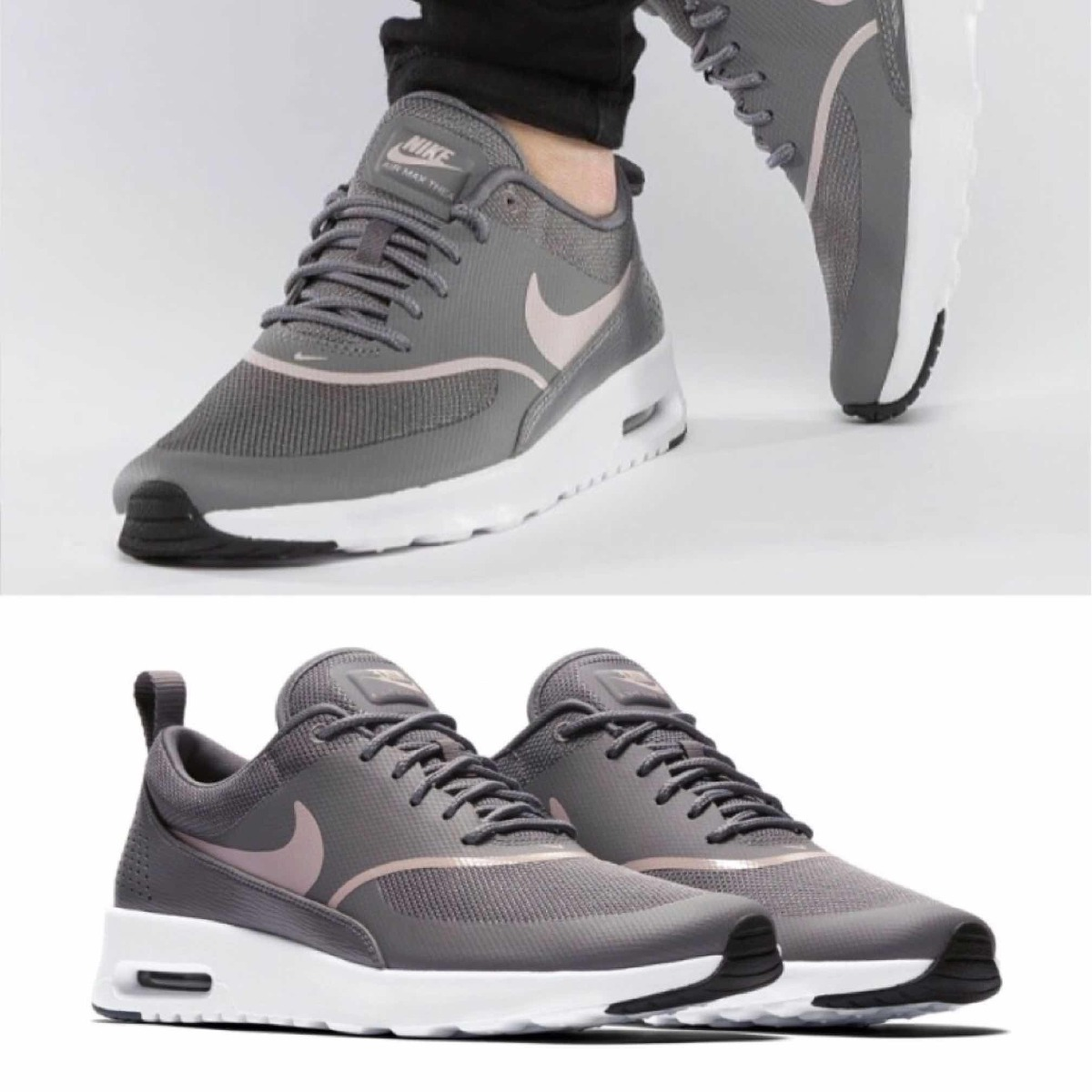 huge selection of half price official store W Tenis Nike Air Max Thea Gris C/ Rosa #5.5 Mx 100% Original