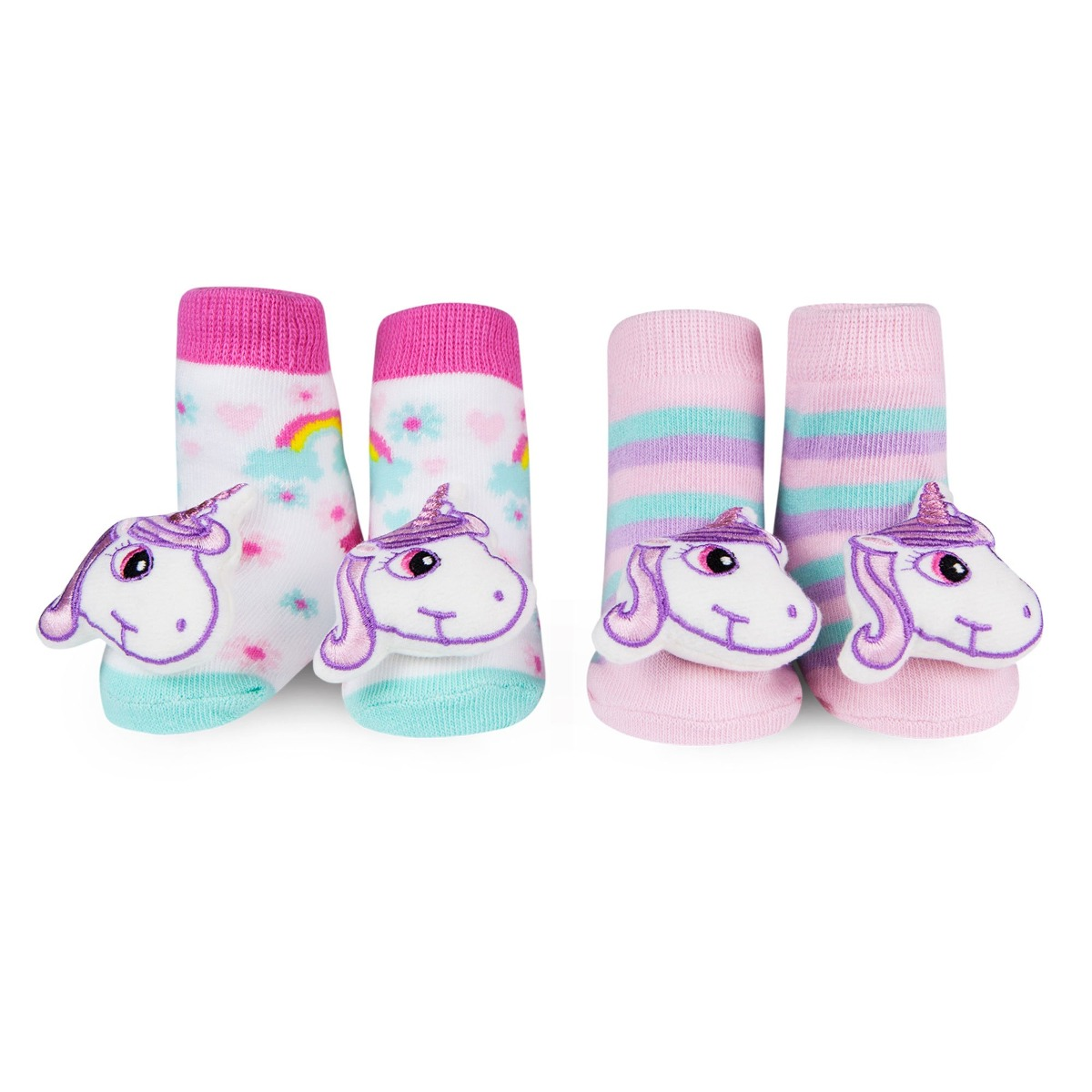Waddle Unicorn Baby Rattle Socks 2 Pack Newborn Baby Botines ...