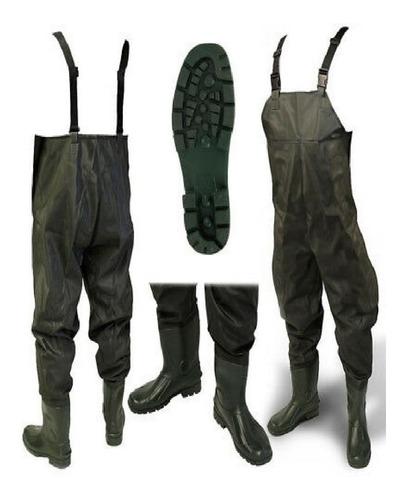 wader para lluvia pesca de pvc con botas vulcanizadas totalmente impermeable verde reforzado verde o negro - lanús