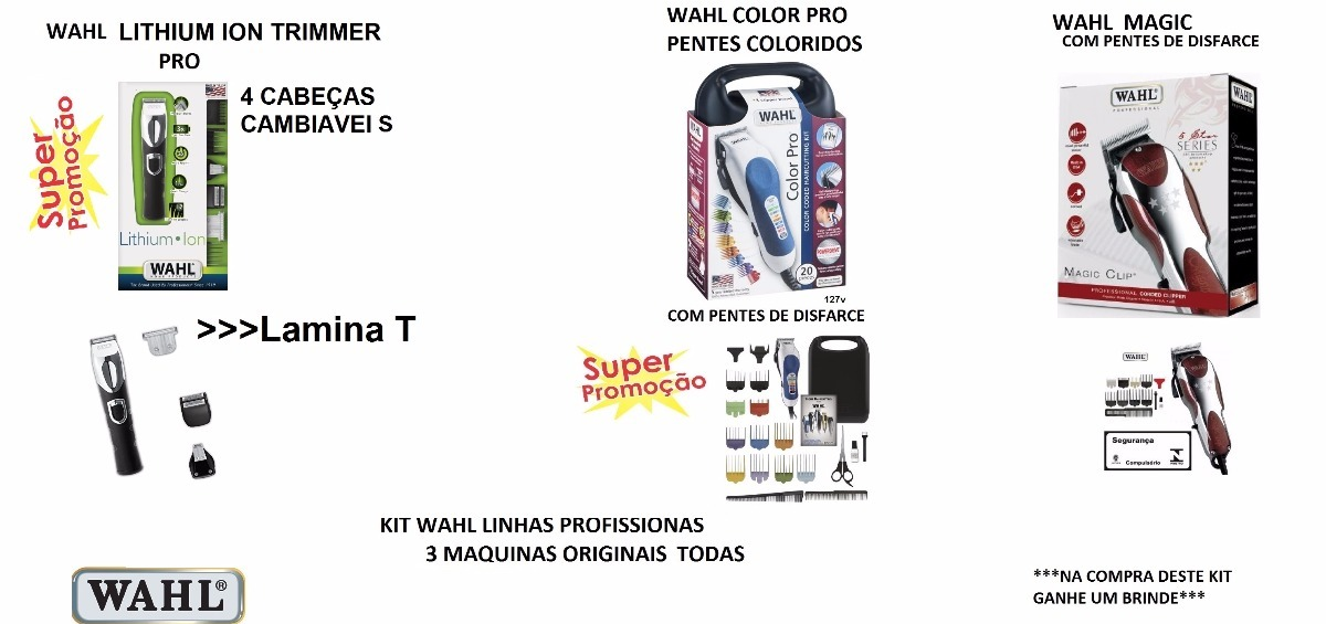 6b6d511b0 Wahl Pro Lithum Ion + Wahl Color + Magic E Pentes Disfarce - R ...