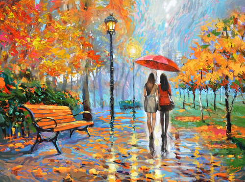 walking in park - pintura oleo de dmitry spiros