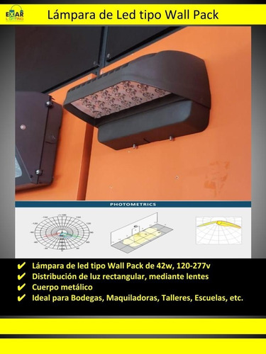 wallpack de led 42w, 120-277v