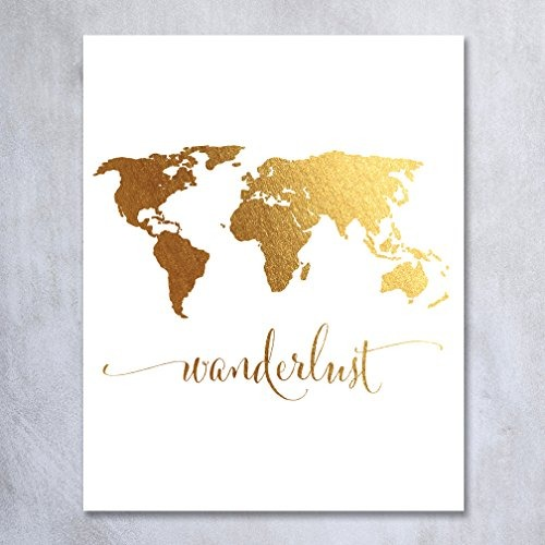 wanderlust world map lmina en oro lmina travel world tr