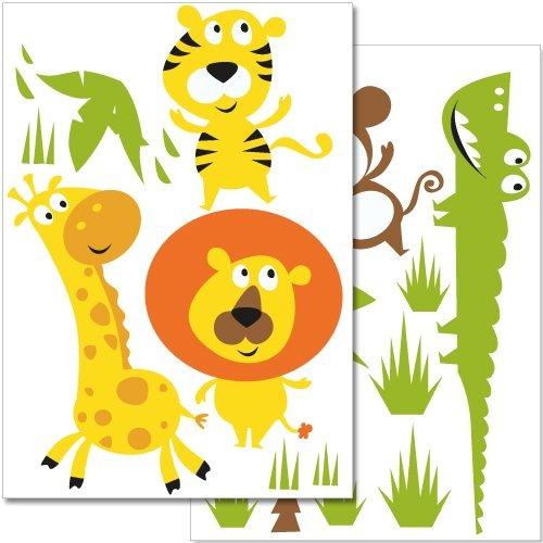 wandkings pegatinas de pared colorido animales de la selva