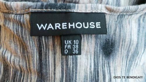 warehouse vestido largo estampado uk10