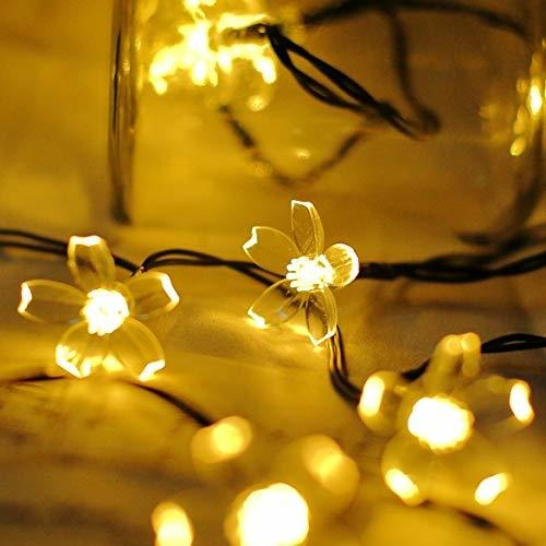 Warm White Solar Flower String Lights