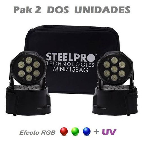 wash led rgb + uv cabeza movil luces dj