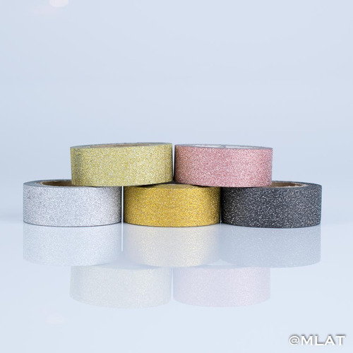 washi tape brillo adhesiva papel x 5 glitter - en cajita !!