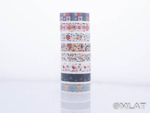 washi tape cinta adhesiva papel x 8 unidades - en cajita !!