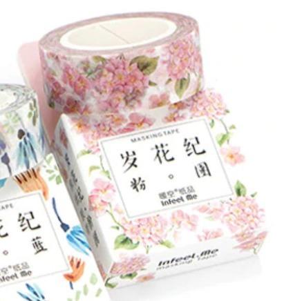 washi tape - estampa de hortência rosa - 15mm x 7m