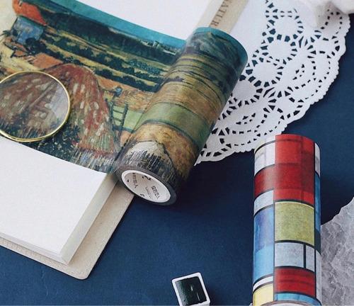 washi tape fita decorativa pinturas van gogh monet rafael