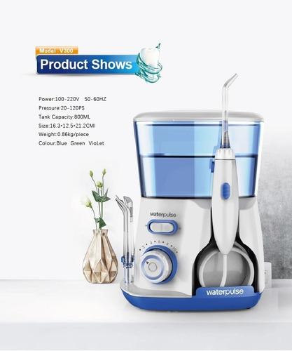 waterpulse irrigador bucal + 800 ml+ 5 picos+ 10 niv presion