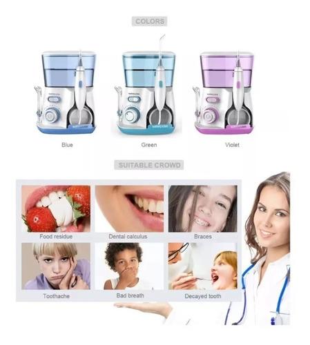waterpulse irrigador duchador bucal dental 5 picos + 10 niveles de presión + 1200 pulsaciones por minuto familiar