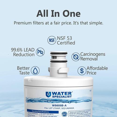 waterspecialist nsf 53 y 42 certificado 5231ja2002a frigorí