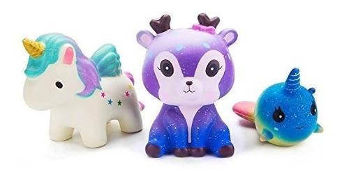 watinc kawaii 3 pcs jumbo squishy juguete estrellado ciervo