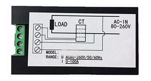 wattímetro e amperímetro digital ac 110v 220v 100a