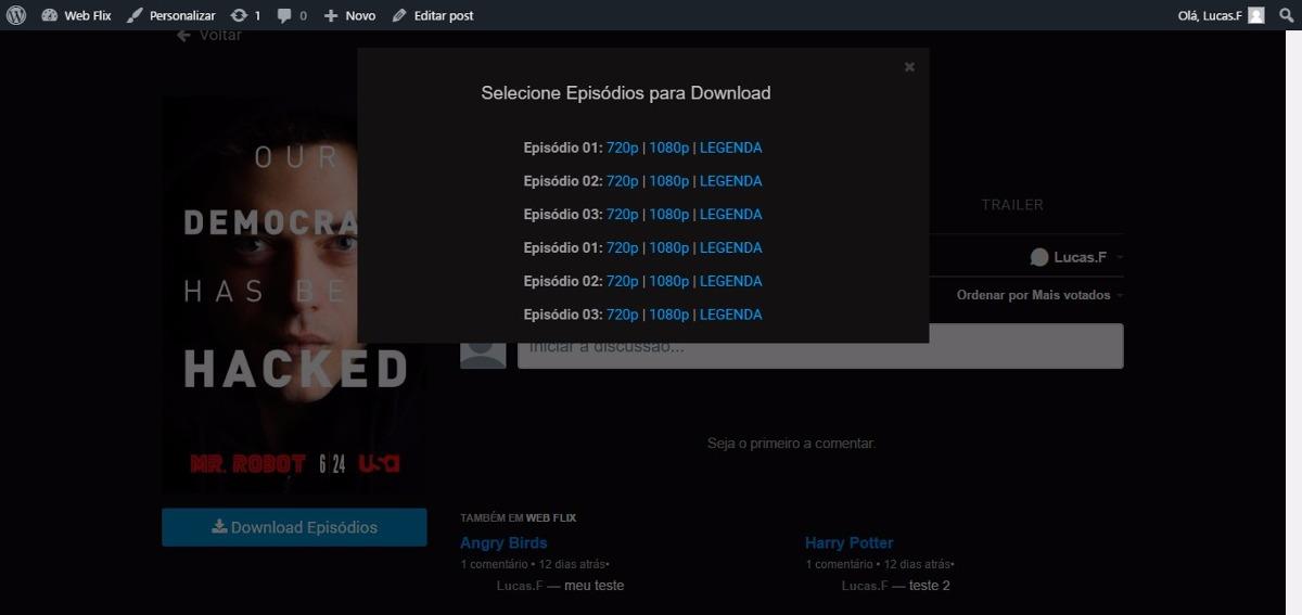 Web Flix Tema Wordpress Para Filmes E Séries + Api Do Imdb - R$ 69 ...
