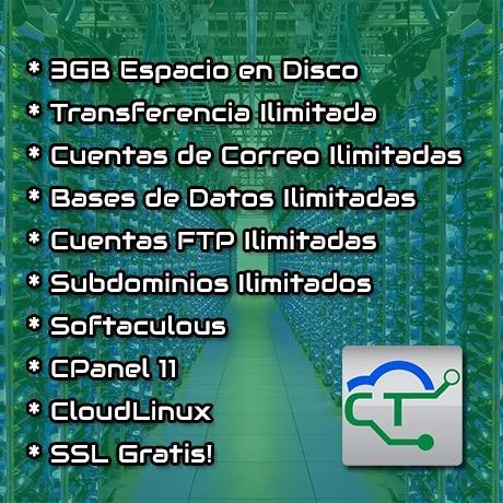web hosting y dominio (.ve), cpanel - 3gb de espacio x mes