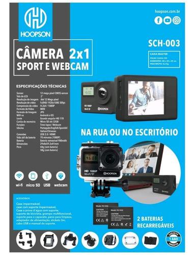 webcam e camera filmadora esportiva hd 1080p wifi hoopson