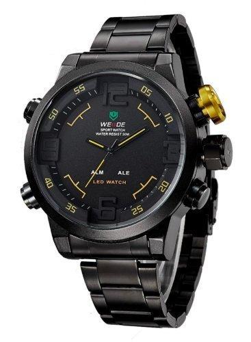 weide de los militares del reloj 3atm análogo led digital t